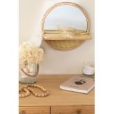 Espelho redondo de parede com prateleira em madeira de pinho (Ø30) Rykker, imagem miniatura 1