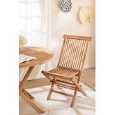 Pacote de 2 cadeiras de jantar dobráveis em Pira de madeira de teca, imagem miniatura 1