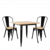 Conjunto de mesa de madeira LIX (80x80) e 2 cadeiras de madeira LIX, imagem miniatura 200349
