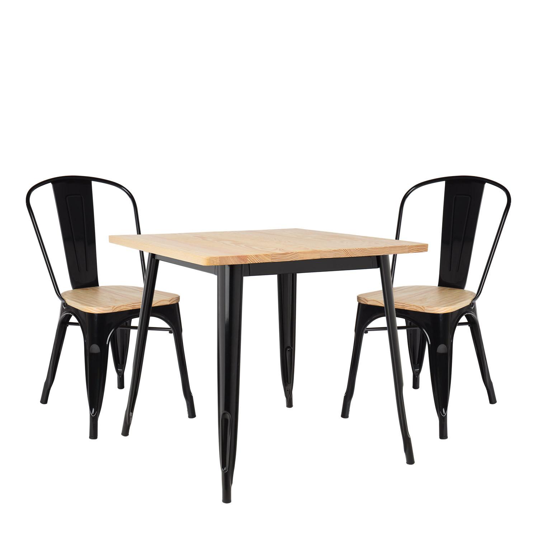 Conjunto de mesa de madeira LIX (80x80) e 2 cadeiras de madeira LIX, imagem de galeria 200349