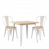 Conjunto de mesa de madeira LIX (80x80) e 2 cadeiras de madeira LIX, imagem miniatura 200358