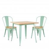 Conjunto de mesa de madeira LIX (80x80) e 2 cadeiras de madeira LIX, imagem miniatura 200367