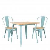 Conjunto de mesa de madeira LIX (80x80) e 2 cadeiras de madeira LIX, imagem miniatura 200376