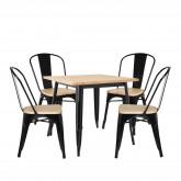Conjunto de mesa de madeira LIX (80x80) e 4 cadeiras de madeira LIX, imagem miniatura 1