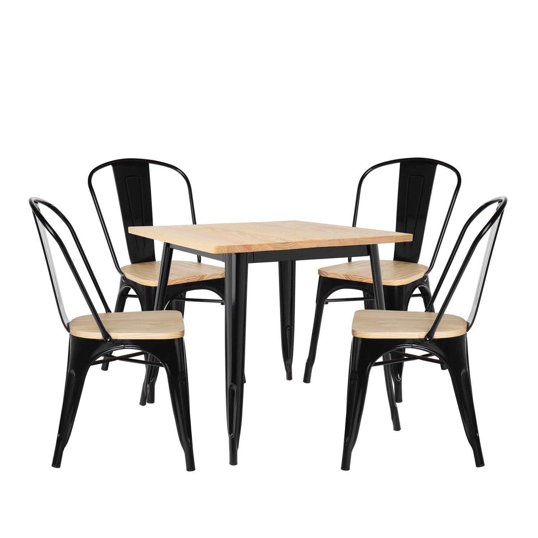 Conjunto de mesa de madeira LIX (80x80) e 4 cadeiras de madeira LIX, imagem de galeria 1