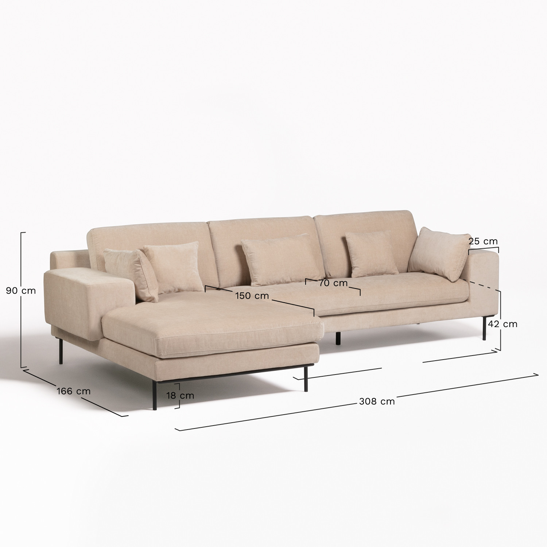 Sofá Chaise Longue de 4 lugares em Chenille Agon - SKLUM