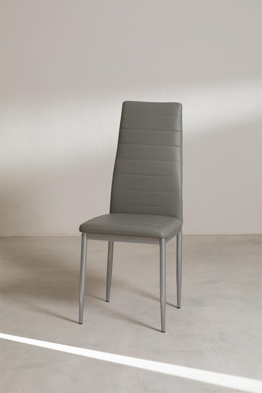 Tiggy Leatherette e cadeira de jantar de aço, imagem de galeria 1