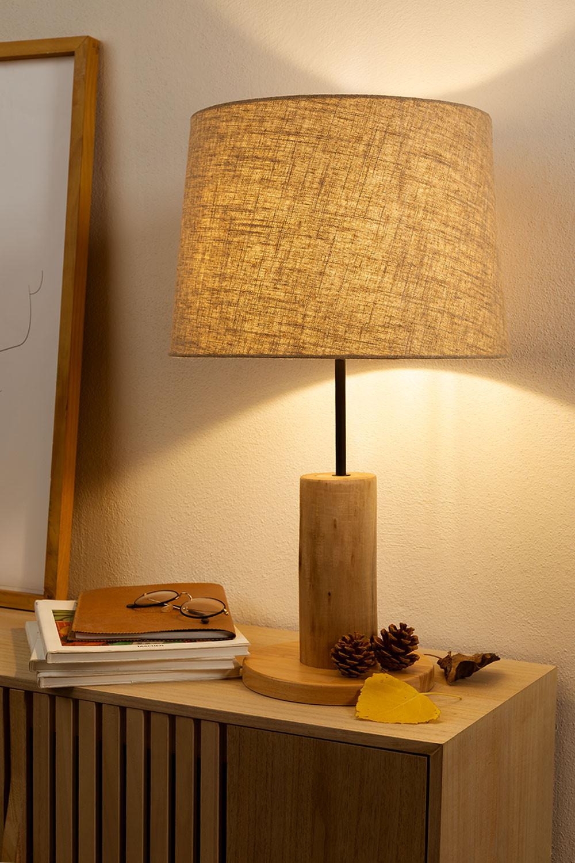 Candeeiro de mesa em linho e madeira Ulga, imagem de galeria 1