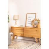 Candeeiro de mesa em linho e madeira Olga, imagem miniatura 5