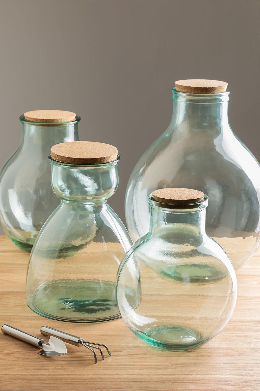 Frasco de vidro reciclado transparente Madox, imagem de galeria 1