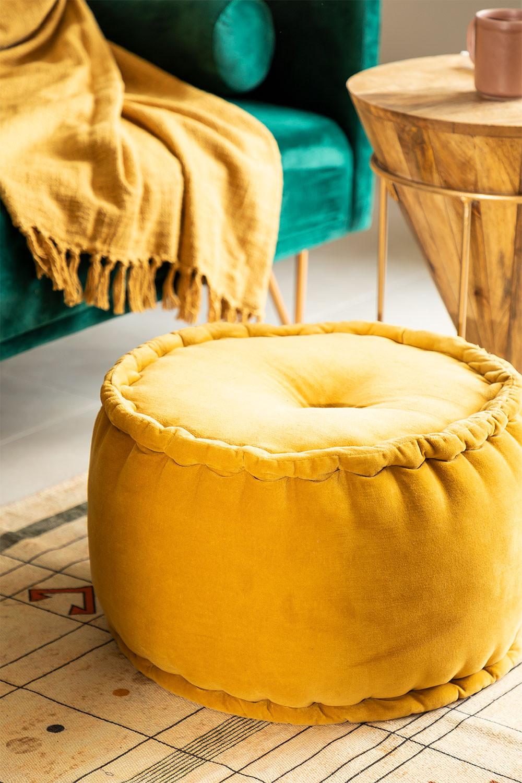 Kelli Round Velvet Puff, imagem de galeria 1