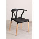 Cadeira de jardim em polietileno e madeira uish, imagem miniatura 2