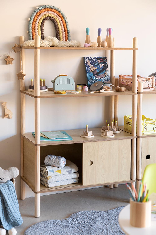 Prateleira infantil com armazenamento e 2 prateleiras de madeira Tulia Kids, imagem de galeria 1