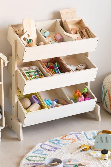 Gabinete organizador de brinquedos de madeira Yerai Kids