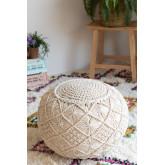 Pufe de algodão redondo em Macrame Kasia, imagem miniatura 1