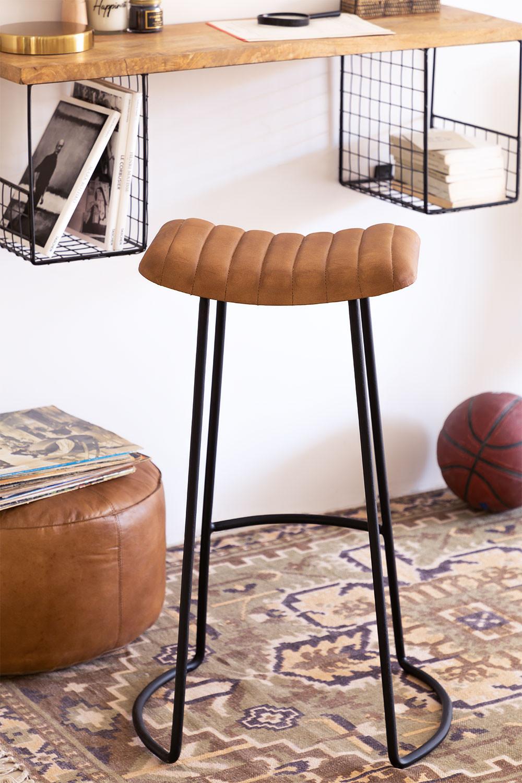 Banquinho alto em couro Copi, imagem de galeria 1