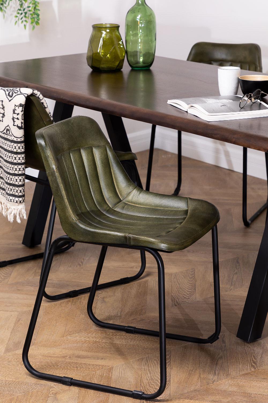 Cadeira de jantar de couro Kindia, imagem de galeria 1