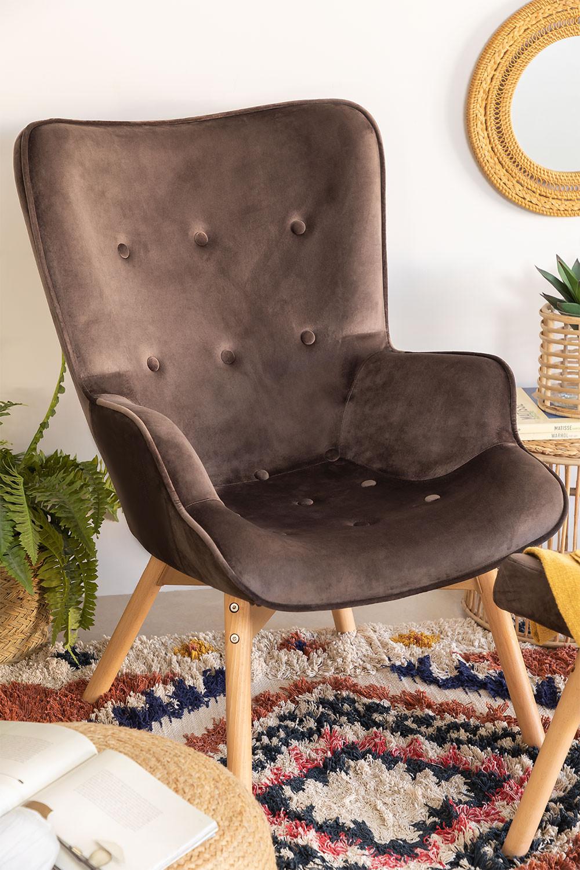 Poltrona estofada em Velvet Morris Edition, imagem de galeria 1