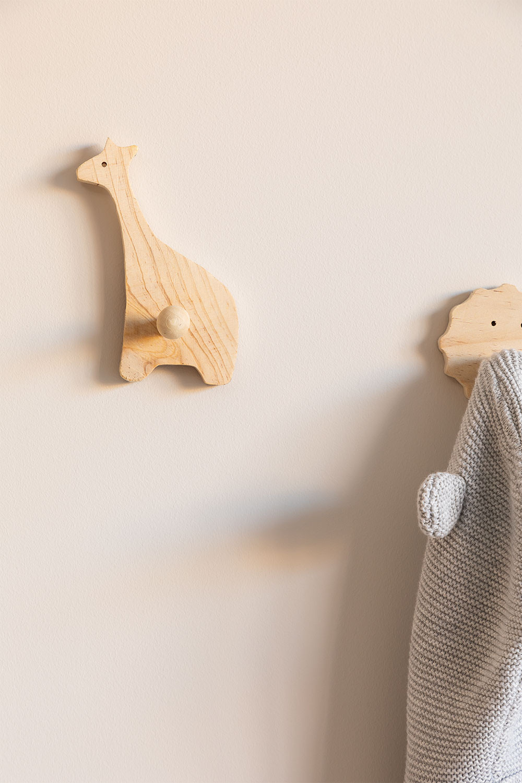 Cabide de parede infantil em madeira Jiraf Kids, imagem de galeria 1