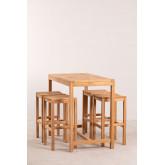 Conjunto de mesa para jardim e 4 bancos altos em madeira de teca Pira, imagem miniatura 2