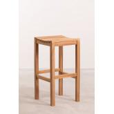Conjunto de mesa para jardim e 4 bancos altos em madeira de teca Pira, imagem miniatura 3