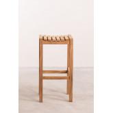 Conjunto de mesa para jardim e 4 bancos altos em madeira de teca Pira, imagem miniatura 4