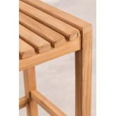 Conjunto de mesa para jardim e 4 bancos altos em madeira de teca Pira, imagem miniatura 5