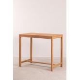 Conjunto de mesa para jardim e 4 bancos altos em madeira de teca Pira, imagem miniatura 6