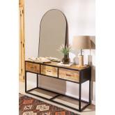 Candeeiro de mesa em linho e madeira Ulga, imagem miniatura 6