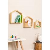 Conjunto de 3 estantes de parede de madeira de pinho Menlo Kids, imagem miniatura 1