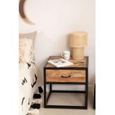 Mesa de cabeceira de madeira Bavi, imagem miniatura 1