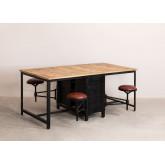 Mesa de jantar de madeira e metal de manga com 4 bancos Quadrap, imagem miniatura 1