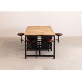 Mesa de jantar de madeira e metal de manga com 4 bancos Quadrap, imagem miniatura 2