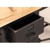 Mesa de jantar de madeira e metal de manga com 4 bancos Quadrap, imagem miniatura 4