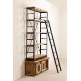 Estante de madeira reciclada Uain com escada, imagem miniatura 3