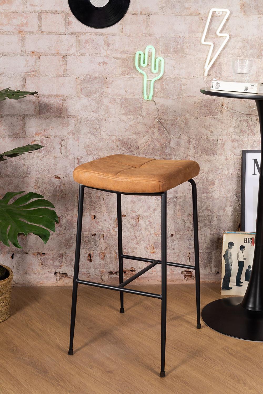 Banquinho alto em Leatherette Ospi, imagem de galeria 1
