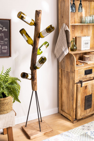 Suporte para garrafas de madeira reciclada Gureh