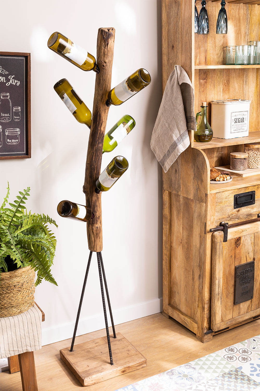 Suporte para garrafas de madeira reciclada Gureh , imagem de galeria 1