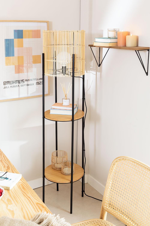 Candeeiro de pé com prateleiras de bambu Loopa, imagem de galeria 1