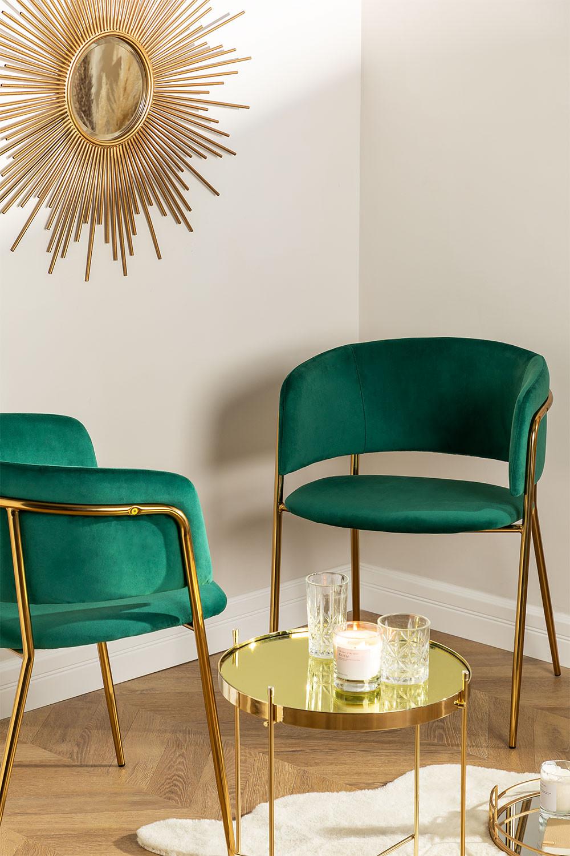 Cadeira de jantar de veludo Nalon, imagem de galeria 1