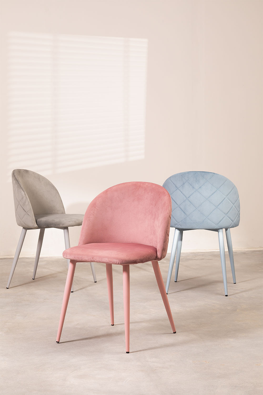 Cadeira de jantar de veludo Kana Colors, imagem de galeria 1