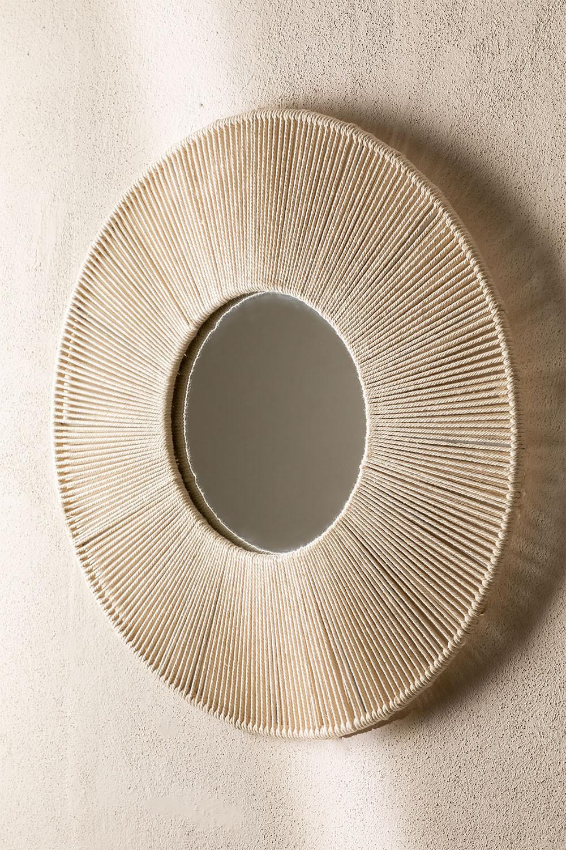 Espelho de parede redondo em Macrame (Ø60 cm) Faustin, imagem de galeria 1