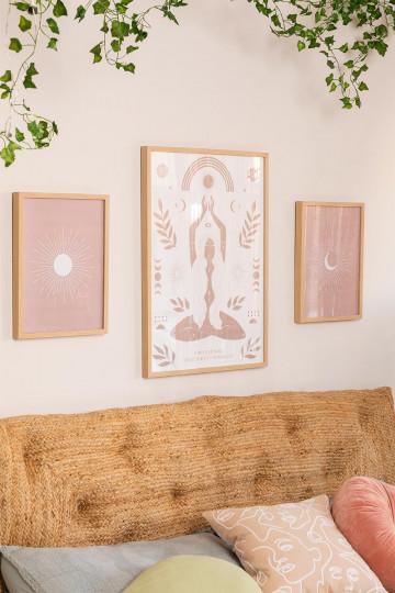 Conjunto de 3 folhas decorativas (50x70 e 30x40 cm) Buda