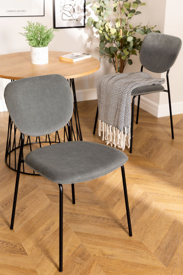 Cadeira de jantar estofada Taris Velvet