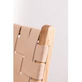 Banquinho alto de madeira e couro Zaid, imagem miniatura 5