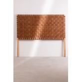 Cabeceira de couro e madeira Zaid para cama de 150 cm, imagem miniatura 3