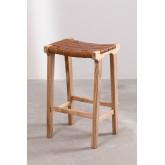 Banquinho de madeira e couro Zaid, imagem miniatura 2