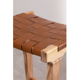 Banquinho de madeira e couro Zaid, imagem miniatura 4
