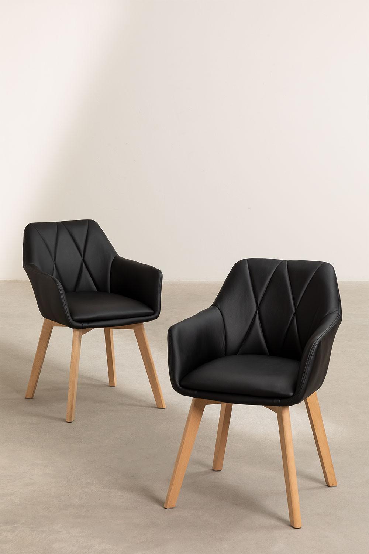 Pacote de 2 cadeiras de jantar estofadas estilo Marh , imagem de galeria 1