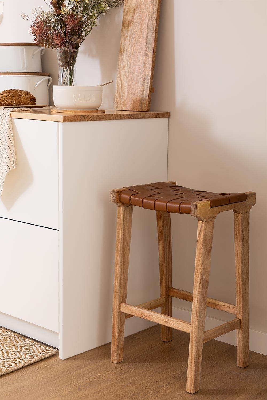 Banquinho de madeira e couro Zaid, imagem de galeria 1